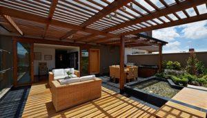 wooden decking pergola